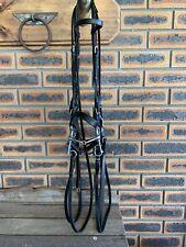 Black Leather Double Bridle w/jointed Korsteel Pelham bit and reins, Dressage