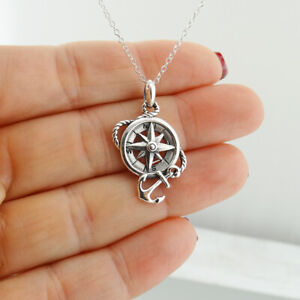 Compass with Rope Anchor Pendant Necklace - 925 Sterling Silver - Nautical Ocean