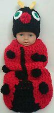 Baby Coccinelle Rouge CROCHET FAIT MAIN unisexe Cocoon et Bonnet 0-2 mois, Lot de 2