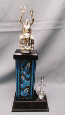 male wheelchair silver trophy award blue column black base