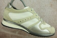 Hogan Ivory Suede White Canvas Athletic Sneaker Shoes Women's Size 8