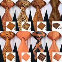 USA Orange Gold Tie Necktie Set Silk Mens Paisley Plaids Solid Tie Wedding Party