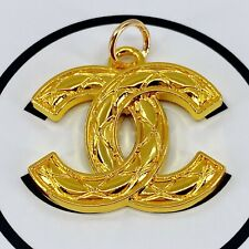 Authentic CHANEL Zipper Pull, Stamped Logo Pendant 26mm Designer Buttons Jewelry