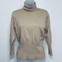 Banana Republic Sweater Size L Silk Long Sleeve Turtleneck Cozy Soft Tan