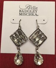 "Crystal 2"" Drop Earrings-Rv $24-Nwt! Belle Badgley Mischka Silver Tone"