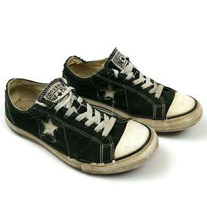 Distressed Converse One Star Low Top Canvas Sneaker Unisex Men 7 Women 9 Black