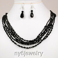 """Black Crystal Fashion Long Necklace  & Earring with Silver Tone Clasp 21"""""""