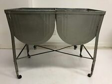 Vintage Metal Double Wash Tub w Stand cooler planter plant stand garden loft