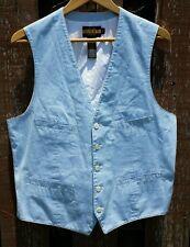 NEW RUGBY POLO RALPH LAUREN L Large White & Blue Striped Cotton Vest rrl