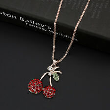 Fashion Women Crystal Red cherry Pendant Long Chain Sweater Necklace Gift