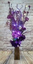 lilac plum rose Bouquet in FREE vase (20 LED battery lights)