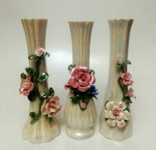 Vintage Porcelain Bud Vase (3 VASE) White Pearl Iridescent with Applied Flowers