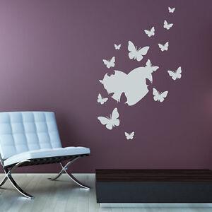 Wandtattoo Schmetterlinge Herz Set Aufkleber Wandaufkleber Wand Tattoo #2116