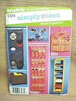 New SIMPLICITY Simply Teen #5124 SEWING PATTERN - Room Organizers HAT SHOE MISC