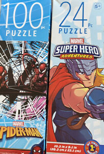 Lot of 2 Kid's Puzzles ~ 100 Piece Spiderman & 24 Piece THOR