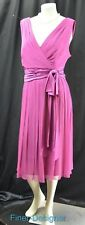 Maggy London Womens Dress Sleeveless 100% silk crinkle chiffon sexy midi 18W NEW