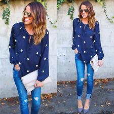 Women's Lady Retro Dot Print Loose Long Sleeve Chiffon Casual Blouse Shirt Tops