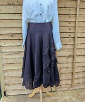MONSOON Chocolate Brown Midi Skirt Flare Frill Goth Boh 80% Linen 20% Silk UK 16
