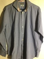 Thomas Dean Long Sleeve Button Up Flip Cuff Shirt Mens Size L Large
