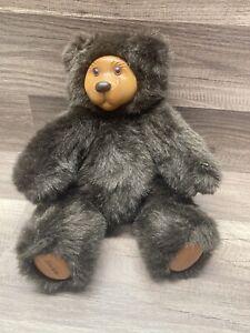 """Vintage 1989 Robert Raikes Wood Face Jointed Brown Teddy Bear 11"""" COOKIE?"""