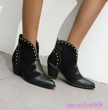 Sexy European Women's Pointed Toe Rivet Leather Ankle Boots Western Cowboy Shoes