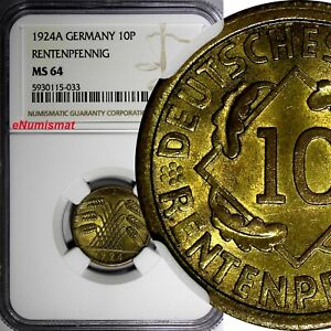 Germany - Weimar Republic 1924 A 10 Rentenpfennig NGC MS64 KM# 33 (033)