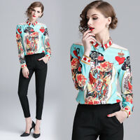 2019 Spring Fall Runway Vintage Print Women Casual Long Sleeve Shirts Top Blouse