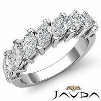 Marquise Cut Prong Set Diamond Half Wedding Band Womens Ring 14k White Gold 2Ct