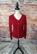Evelyn Grace Women's Long Sleeve Red 100% CASHMERE Cardigan Sweater Sz S EUC