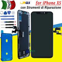 DISPLAY SCHERMO PER APPLE IPHONE XS VETRO LCD + TOUCH + FRAME SCREEN NERO GLS