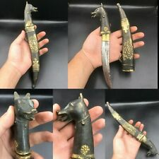 Very Rare Ancient Roman Empire Unique Bronze Wonderful Knief With Anubis Head