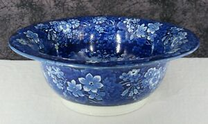 Antique Dark Blue Staffordshire Transferware English Castle Scene Wash Bowl