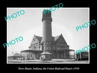 OLD POSTCARD SIZE PHOTO OF TERRE HAUTE INDIANA RAILROAD DEPOT STATION c1910