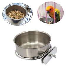 New listing Parrots Stainless Steel Food Bowl Water Bowl Food Cup Water Trough Bird Special