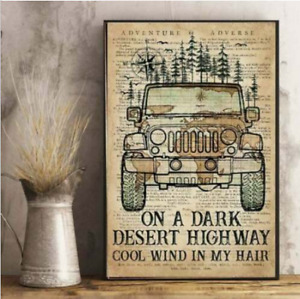 Retro Jeep Poster On a dark desert high way cool wind in my hair No Frame Decor