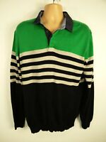 """MENS BLUE HARBOUR SIZE XL 44-46"""" NAVY GREEN MIX STRIPED COLLARED JUMPER PULLOVER"""