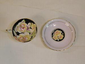 Paragon Black & Lavender Cup & Saucer Appt Queen Nasturtiums Pansies