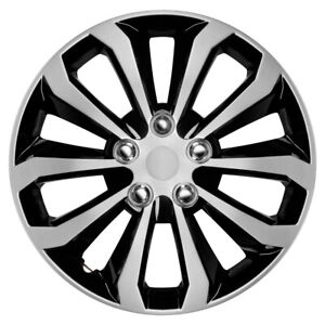 "4 pc Set Hub Cap ICE BLACK / SILVER TRIM 16"" Inch Rim Wheel Cover Caps Covers"