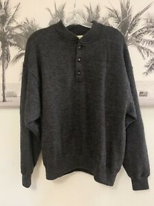 NEW Mens Cabela's Charcoal Gray Wool Windstopper Pullover Sweater Hunting Sz XL
