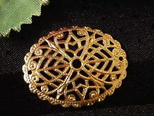 2x GOLD-PLATED OVAL FOCAL FILIGREE, 30x23mm, for jewelry making