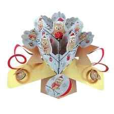 Owls Christmas Tree Pop-Up Greeting Card Original Second Nature 3D Pop Ups Cards