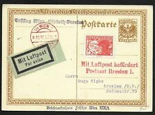 Austria covers 1927 special Beethoven PPC per Airmail to Breslau