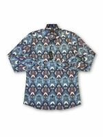 Olymp level 5 body fit shirt in blue/white/red paisley pattern M rrp £60.00