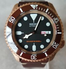 """SEIKO SKX007 Mod """"The Rose Gold"""" NH36A leather strap new condition"""