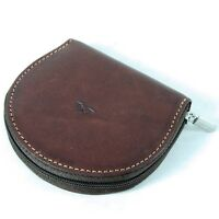 Leather Zipped Coin Purse Tony Perotti Italian Leather Brown TP- 1123G