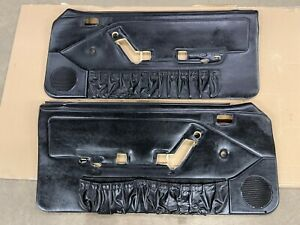 87-93 Ford Mustang Factory BLACK Door Panels MANUAL CRANK w/ Map Pockets RARE!