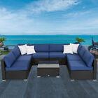 9pcs Outdoor Patio Sofa Set Rattan Garden Furniture Sectional Garden Yard Deck