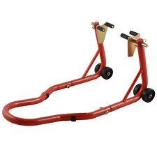 Cavalletto Alza Moto Anteriore Regolabile 4 Ruote Rosso Adattatori a Forca