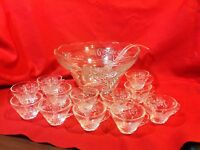 Vintage Design Crystal Punch set with 12 Cups, no cup hangers Anchor Hocking