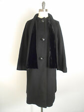 vintage 50s Coat Black Wool Velvet Attached Scarf Swing Stroller Coat Sz 8 #103